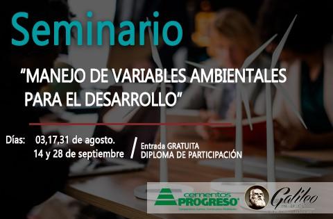 """Imagen: Seminario: """"Manejo de variables ambientales para el desarrollo""""."""